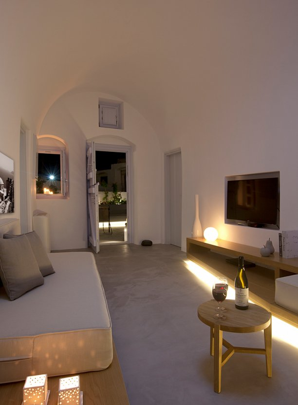 Living Space, Furniture, Hidden Floor Lighting, Villa Renovation in Megalochori, Santorini