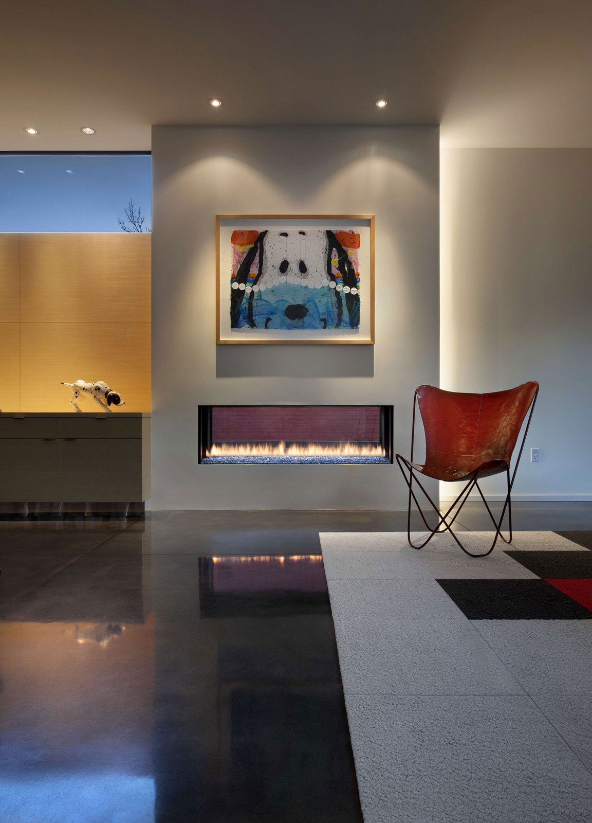 Modern Fireplace, Art, Rug, Chair, Stylish Townhomes near Boulder, Colorado
