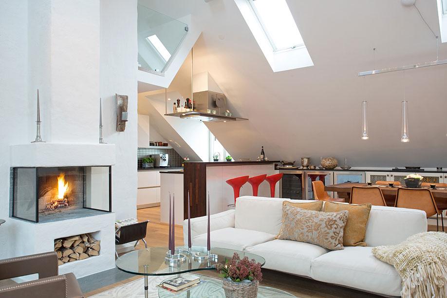 Modern Fireplace, Wood Store, Loft Apartment in Kungsholmen, Stockholm