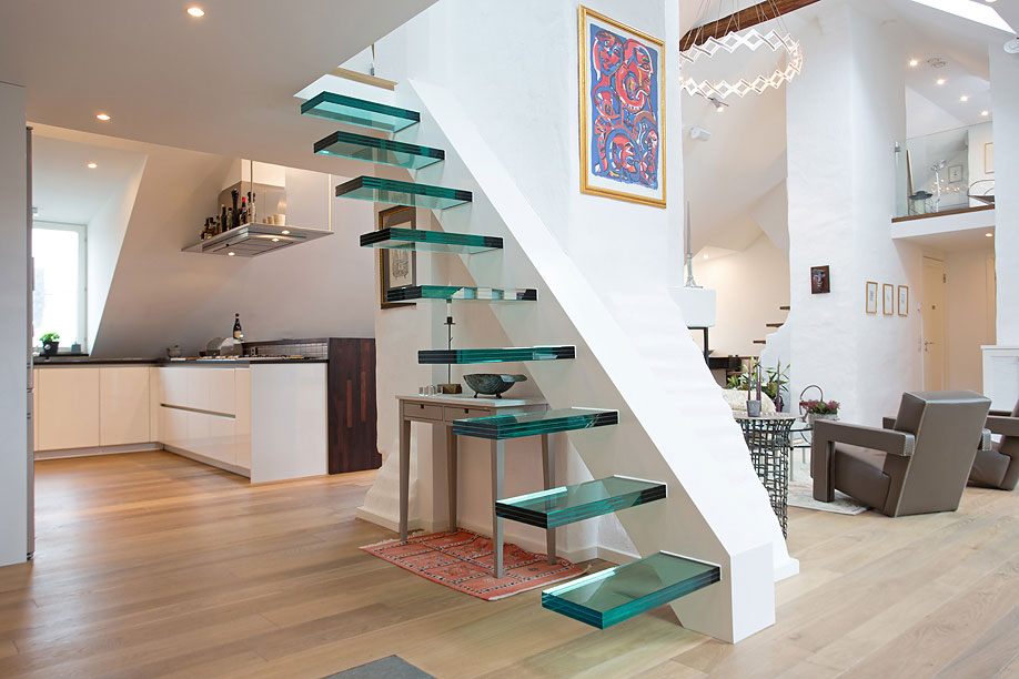 Modern Glass Stairs, Loft Apartment in Kungsholmen, Stockholm