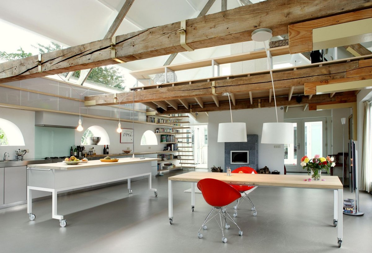 Open Plan Kitchen, Dining, Beams, Lighting, Barn Conversion in Geldermalsen, The Netherlands