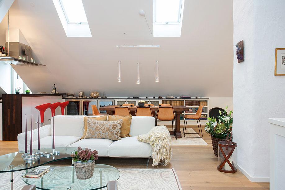 Open Plan Living, Dining & Kitchen, Loft Apartment in Kungsholmen, Stockholm
