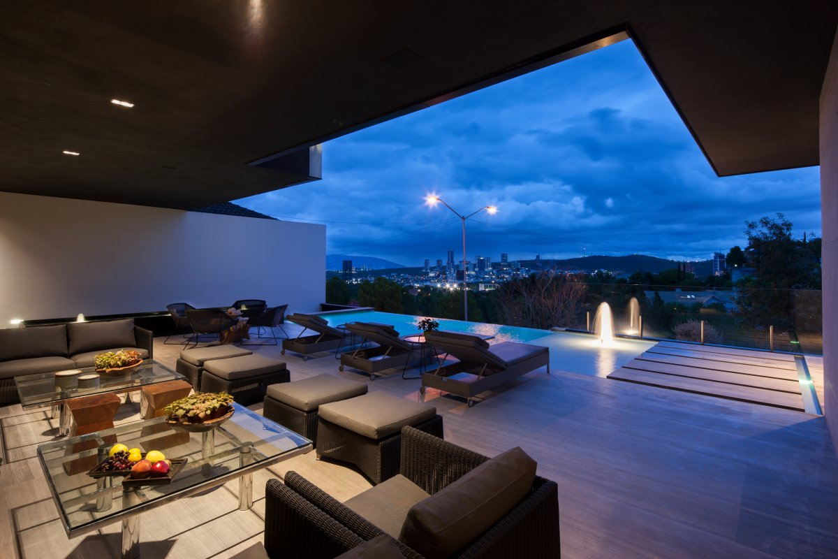 Outdoor Furniture, Terrace, Infinity Pool, Stylish Contemporary Home in Garza Garcia, Mexico