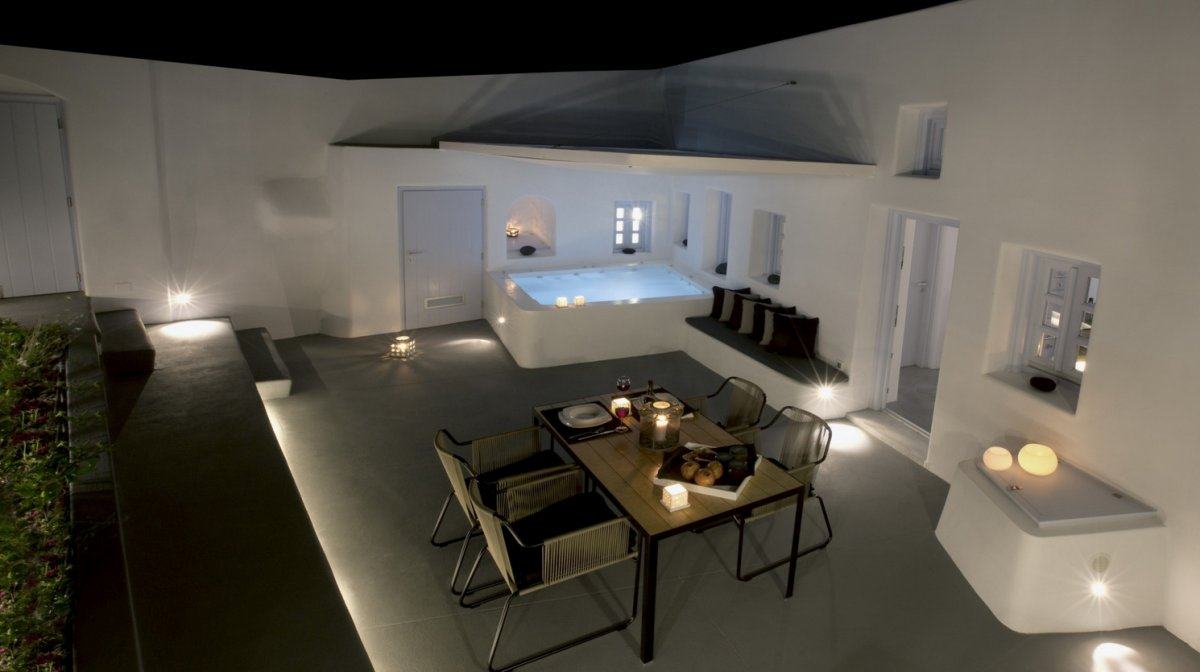 Outdoor Living, Dining Table, Lighting, Pool, Villa Renovation in Megalochori, Santorini