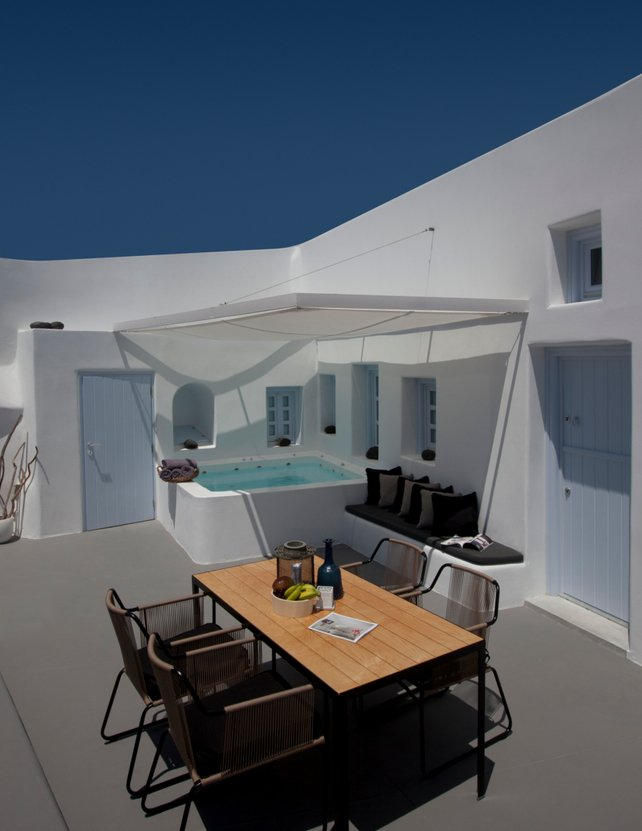 Outdoor Living, Dining, Villa Renovation in Megalochori, Santorini