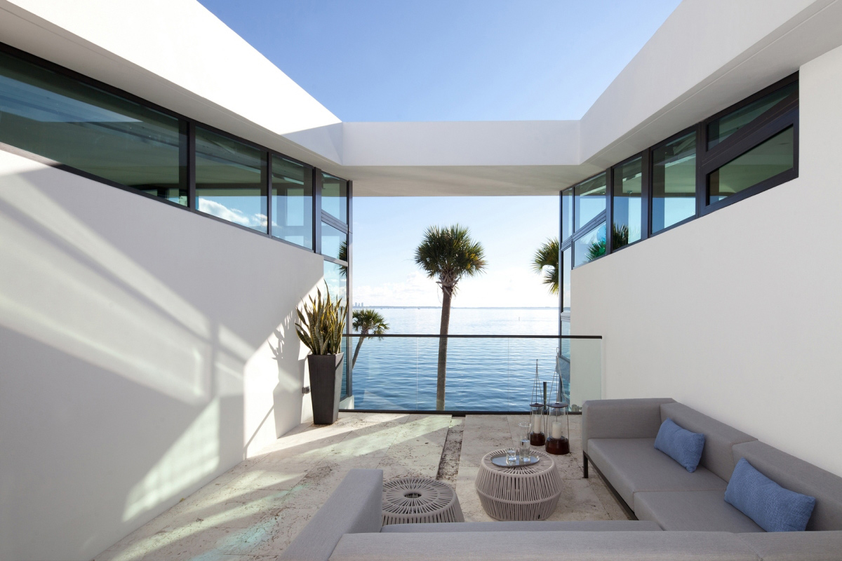Outdoor Living Space, Water Views, Waterfront Residence in Coral Gables, Miami