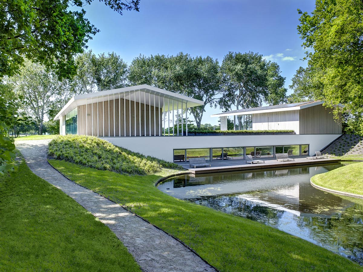 Pond, Pathway, Modern Home in Oosterhout, The Netherlands