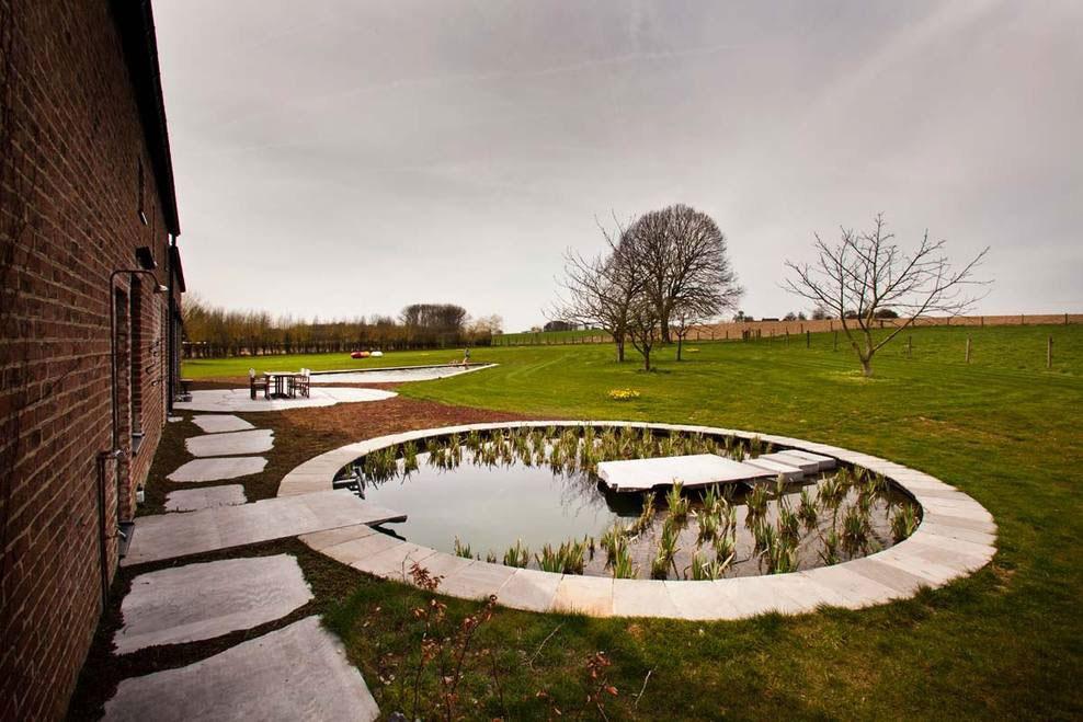 Pond, Terrace, Farmhouse Renovation in Lennik, Belgium