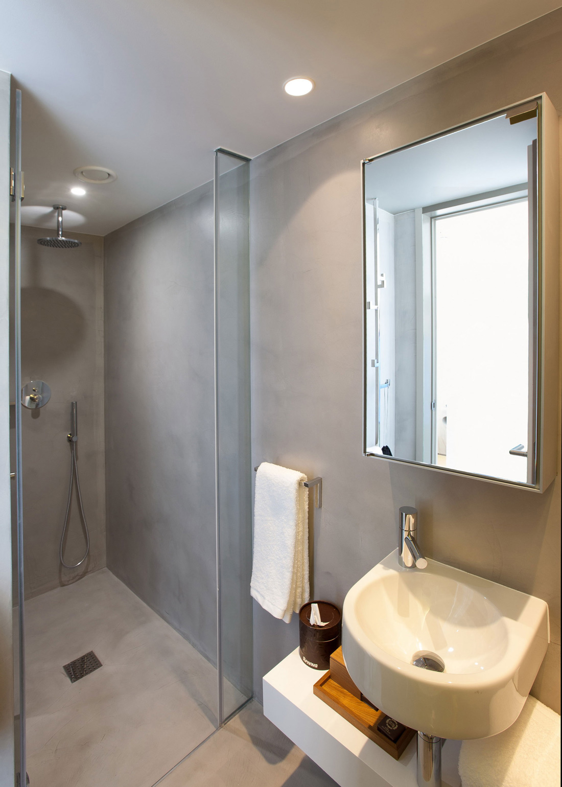 Shower mirror sink boutique hotel in the heart of
