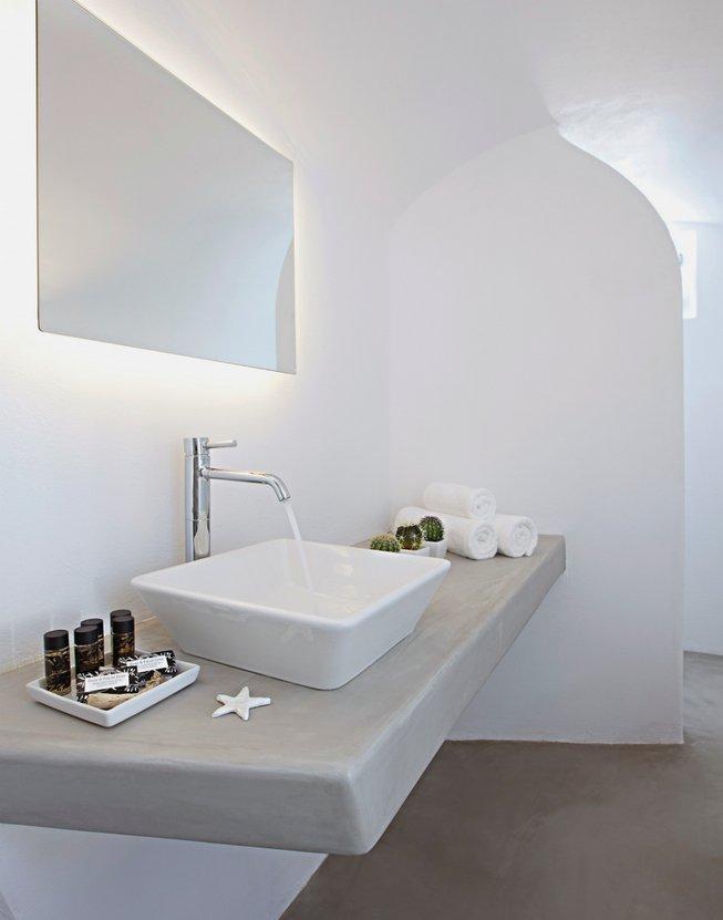 Sink, Mirror, Bathroom, Villa Renovation in Megalochori, Santorini