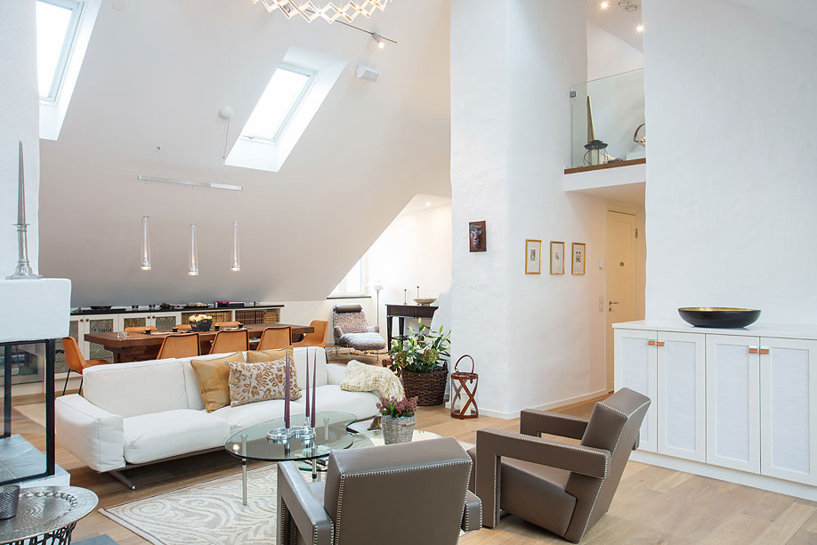 Sofa, Coffee Table, High Ceilings, Loft Apartment in Kungsholmen, Stockholm