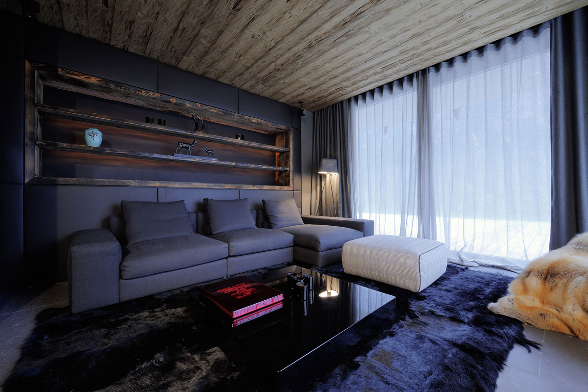 Sofa, Rug, Coffee Table, Wood Ceiling, Apartments in Kappl, Austria