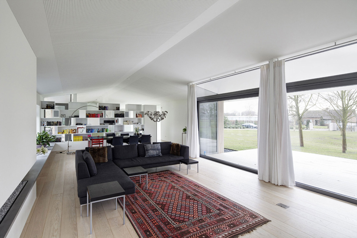 Sofas, Rug, Glass Wall, Modern Home in Oosterhout, The Netherlands