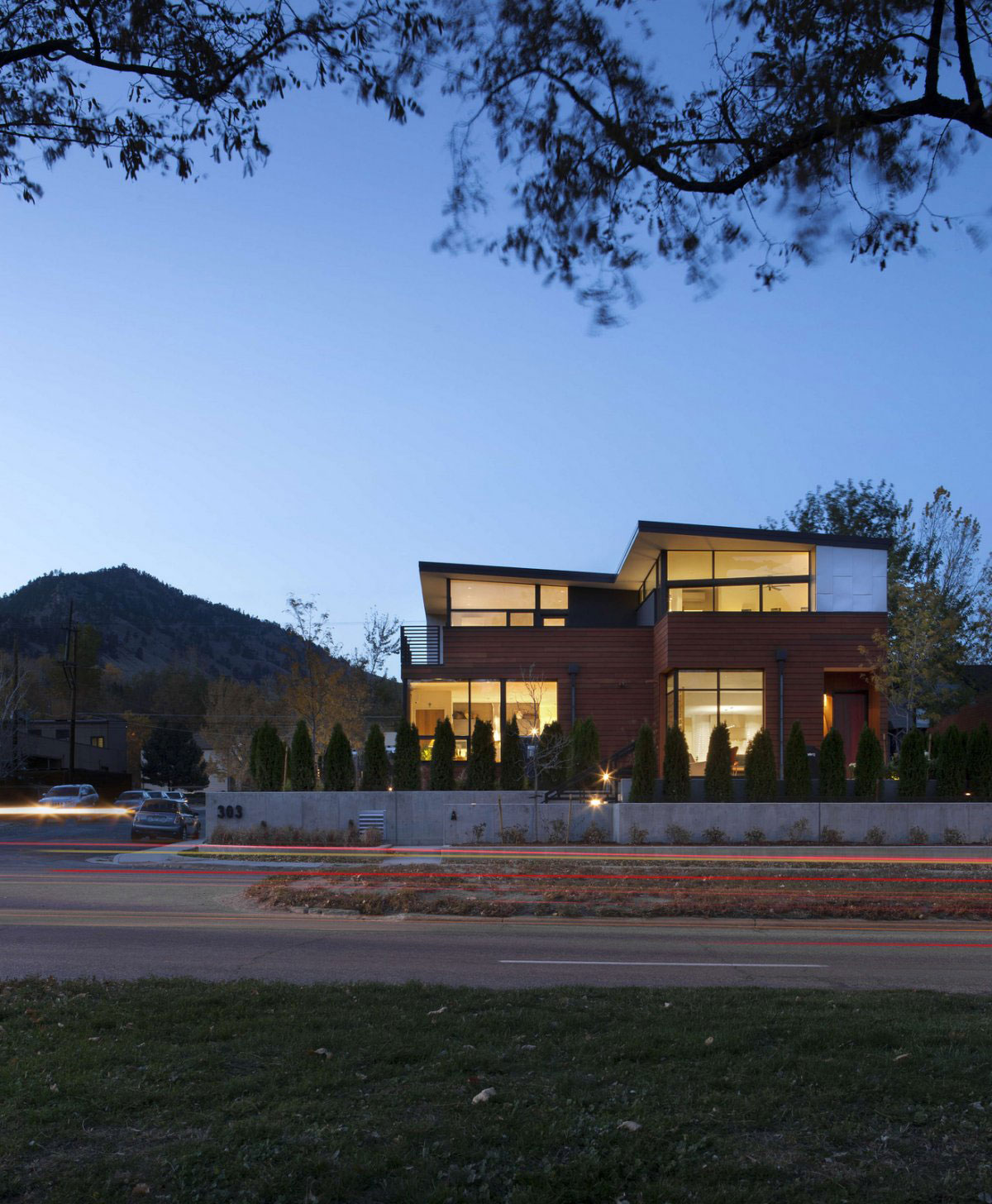 Street View, Dusk, Lighting, Evening Lighting, Stylish Townhomes near Boulder, Colorado
