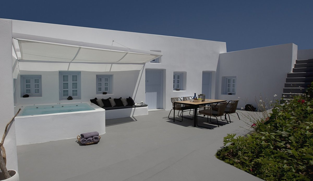 Sun Shade, Pool, Terrace, Courtyard, Villa Renovation in Megalochori, Santorini