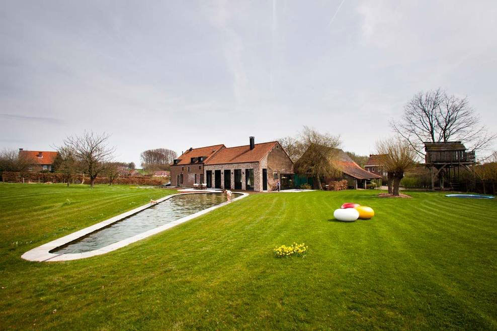 Swimming Pool Lawn Garden Farmhouse Renovation In
