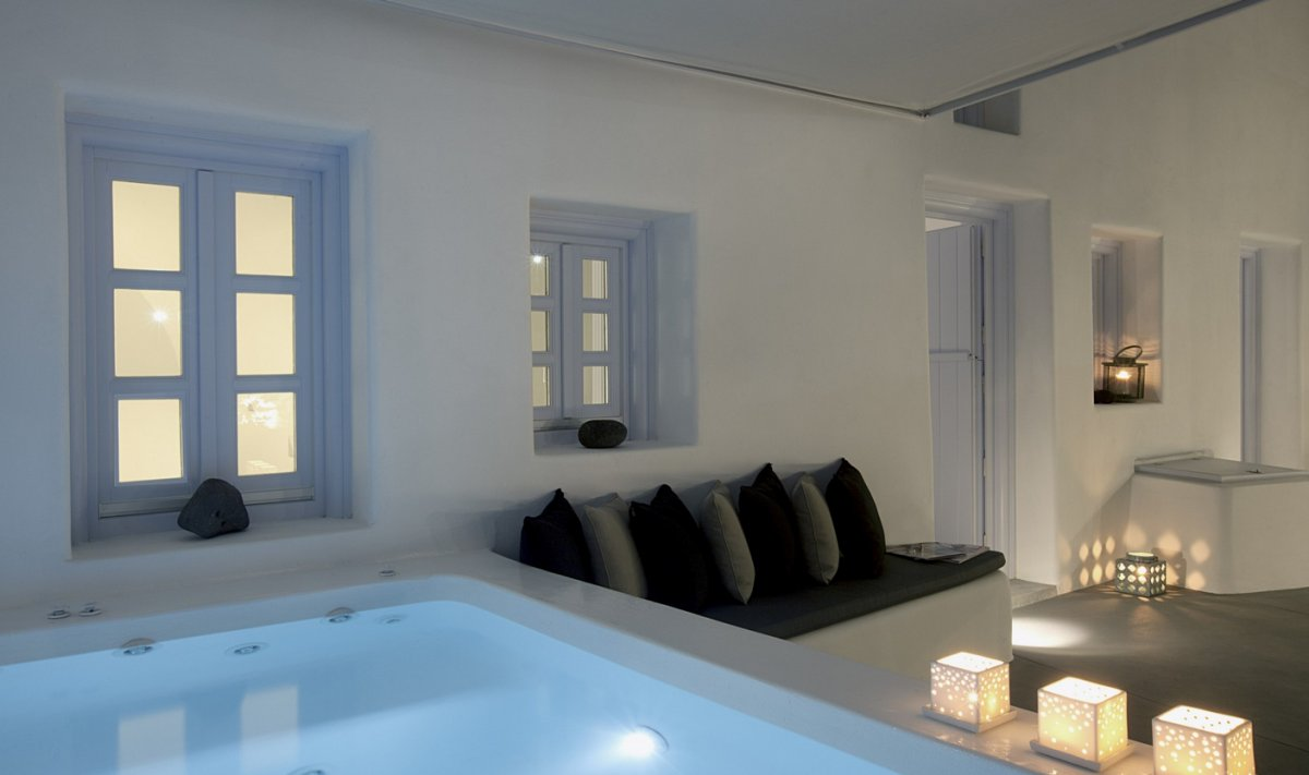 Swimming Pool, Lighting, Seating, Villa Renovation in Megalochori, Santorini