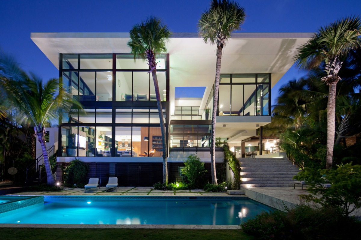 Swimming Pool, Terrace, Waterfront Residence in Coral Gables, Miami