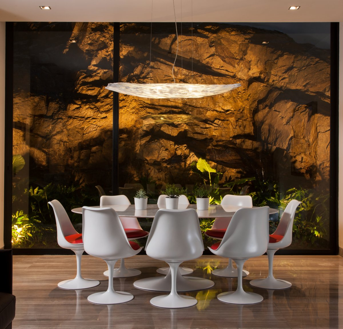 White Dining Table, Lighting, Natural Rock, Stylish Contemporary Home in Garza Garcia, Mexico