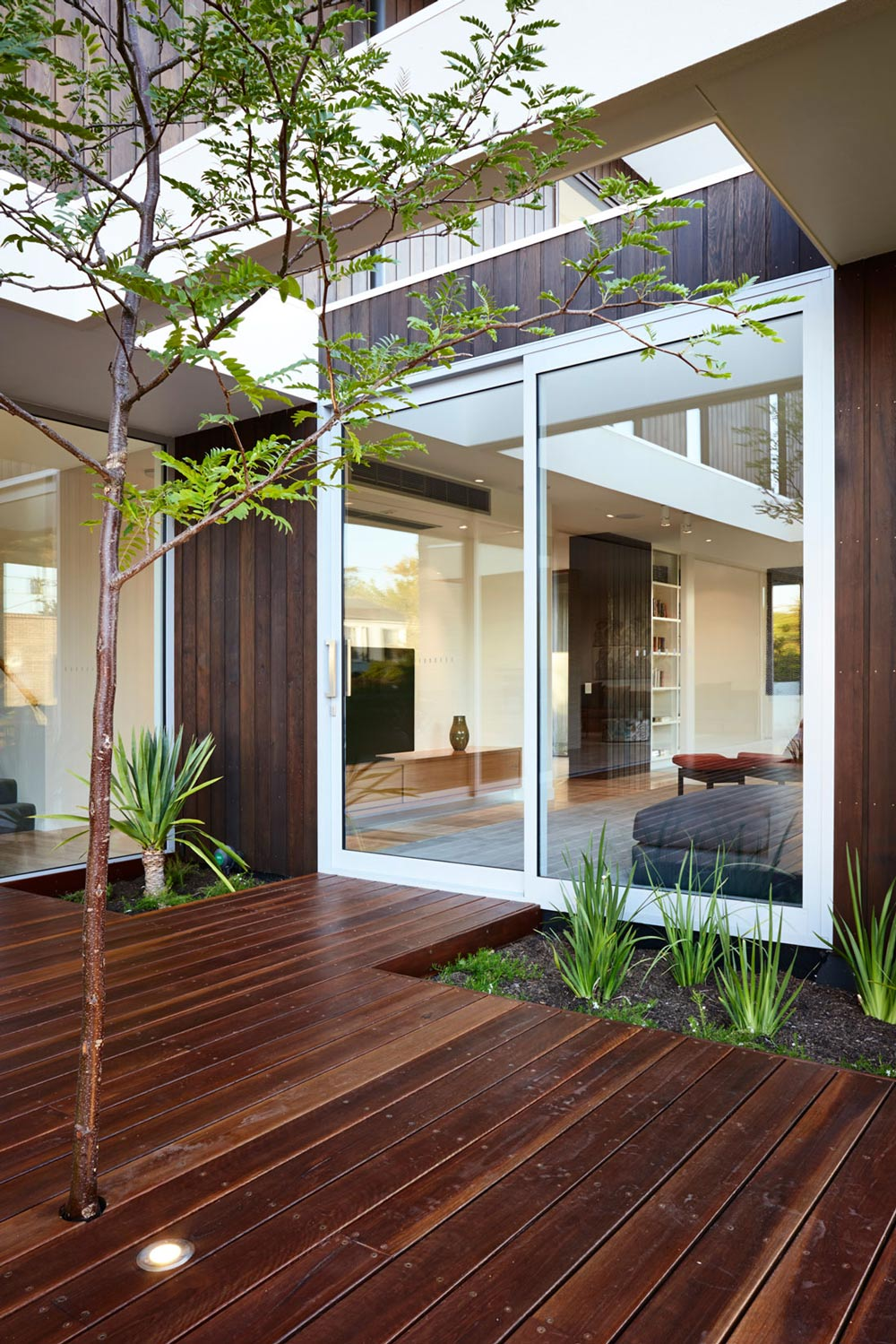 Wood Decking, Patio Doors, California House in Brighton, Australia