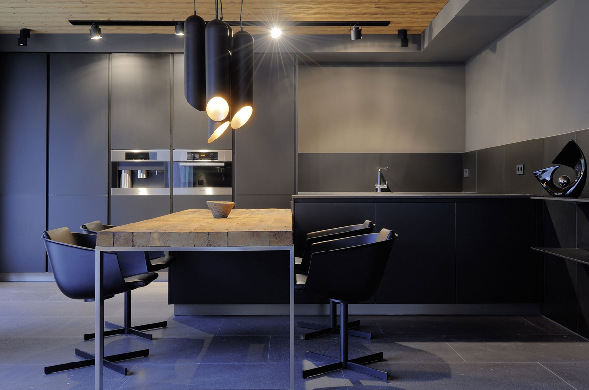 Wood & Metal Dining Table, Kitchen, Lighting, Apartments in Kappl, Austria