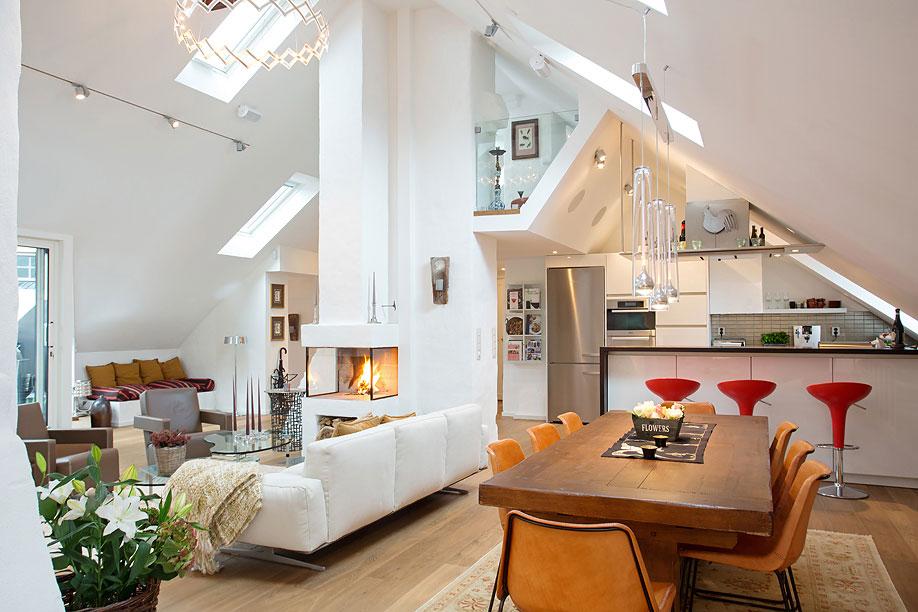 Wooden Dining Table, Lighting, Loft Apartment in Kungsholmen, Stockholm