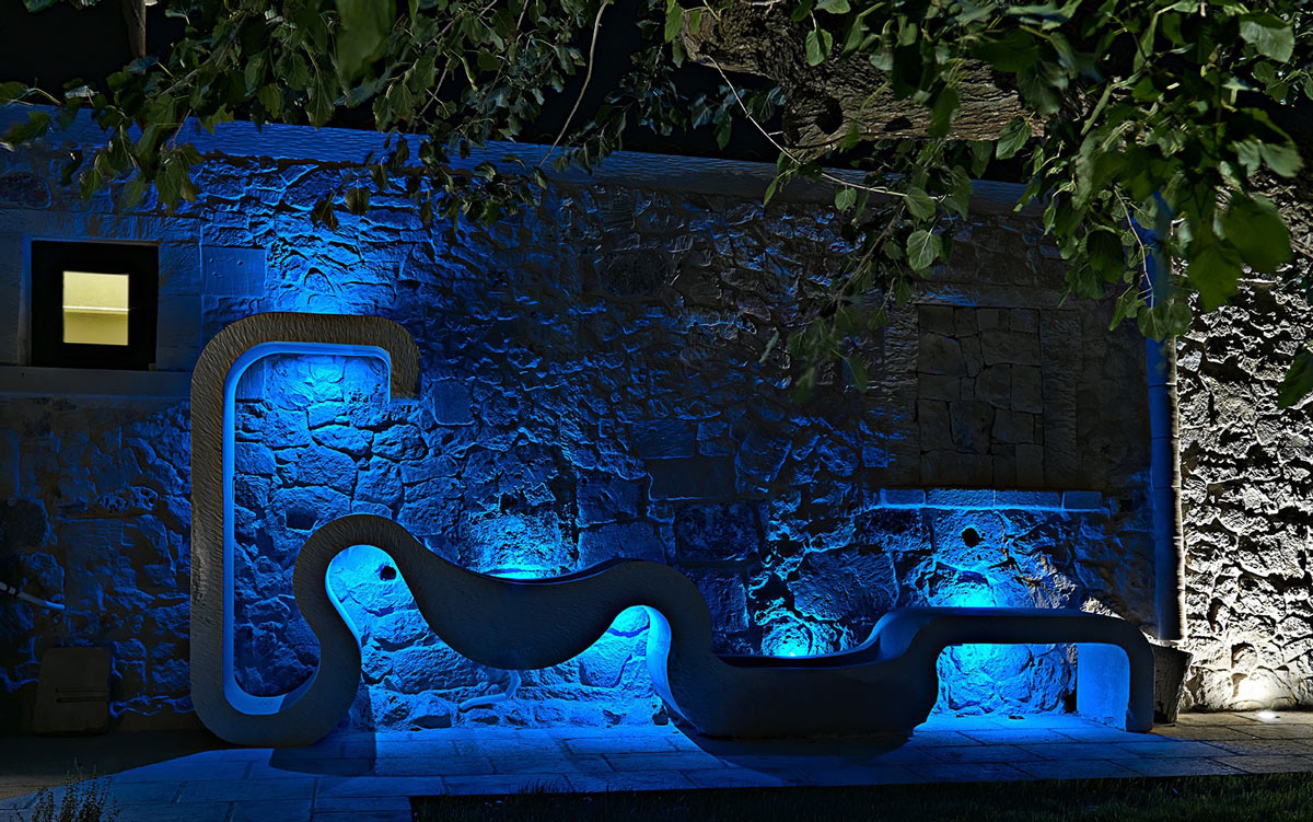 Art, Blue Lighting, Evening, Relais Masseria Capasa Hotel in Martano, Italy