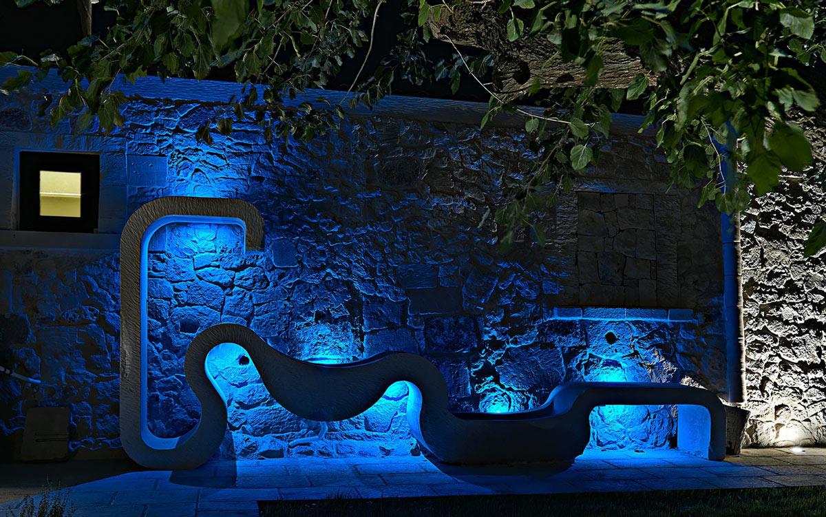 Art, Blue Lighting, Evening, Relais Masseria Capasa Hotel in Martano, Italy
