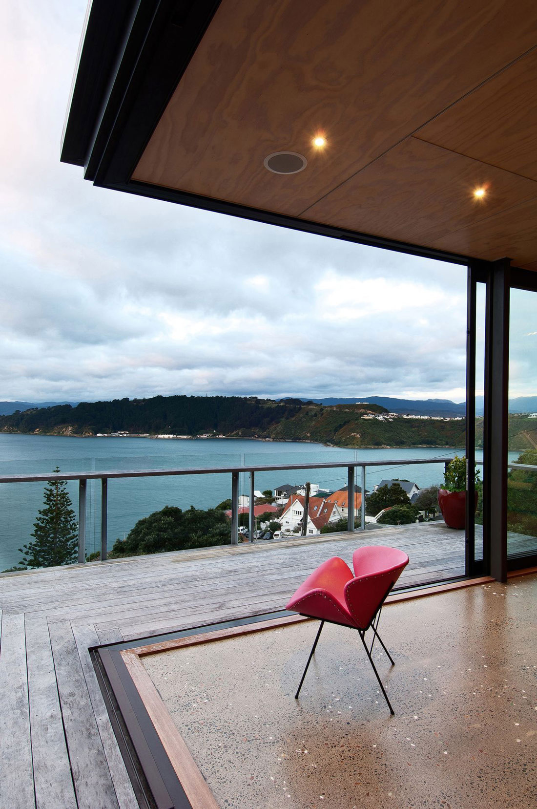 Balcony, Sea Views, Hillside Home in Wellington, New Zealand