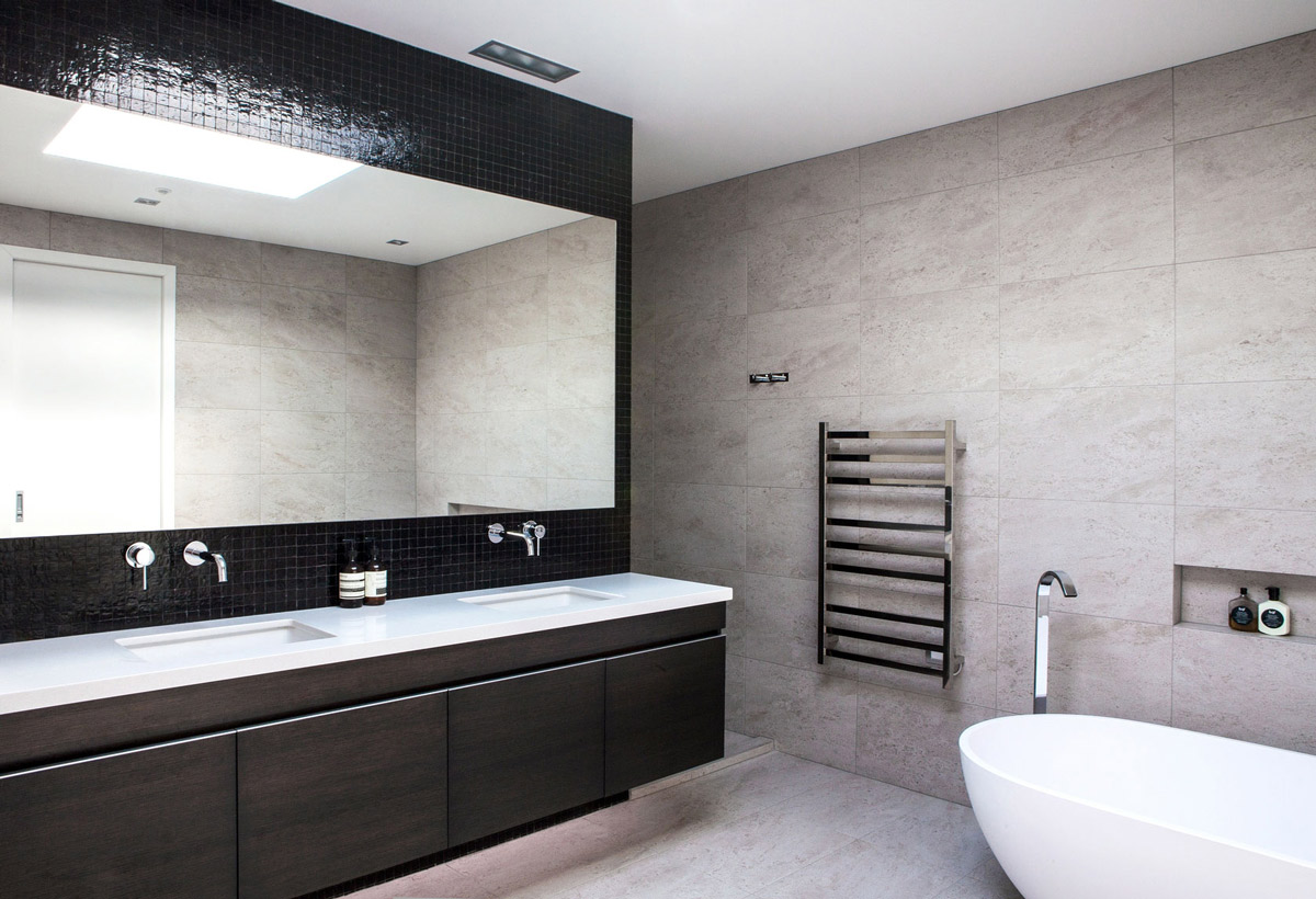 Bathroom, Double Sinks, Modern House in Auckland, New Zealand