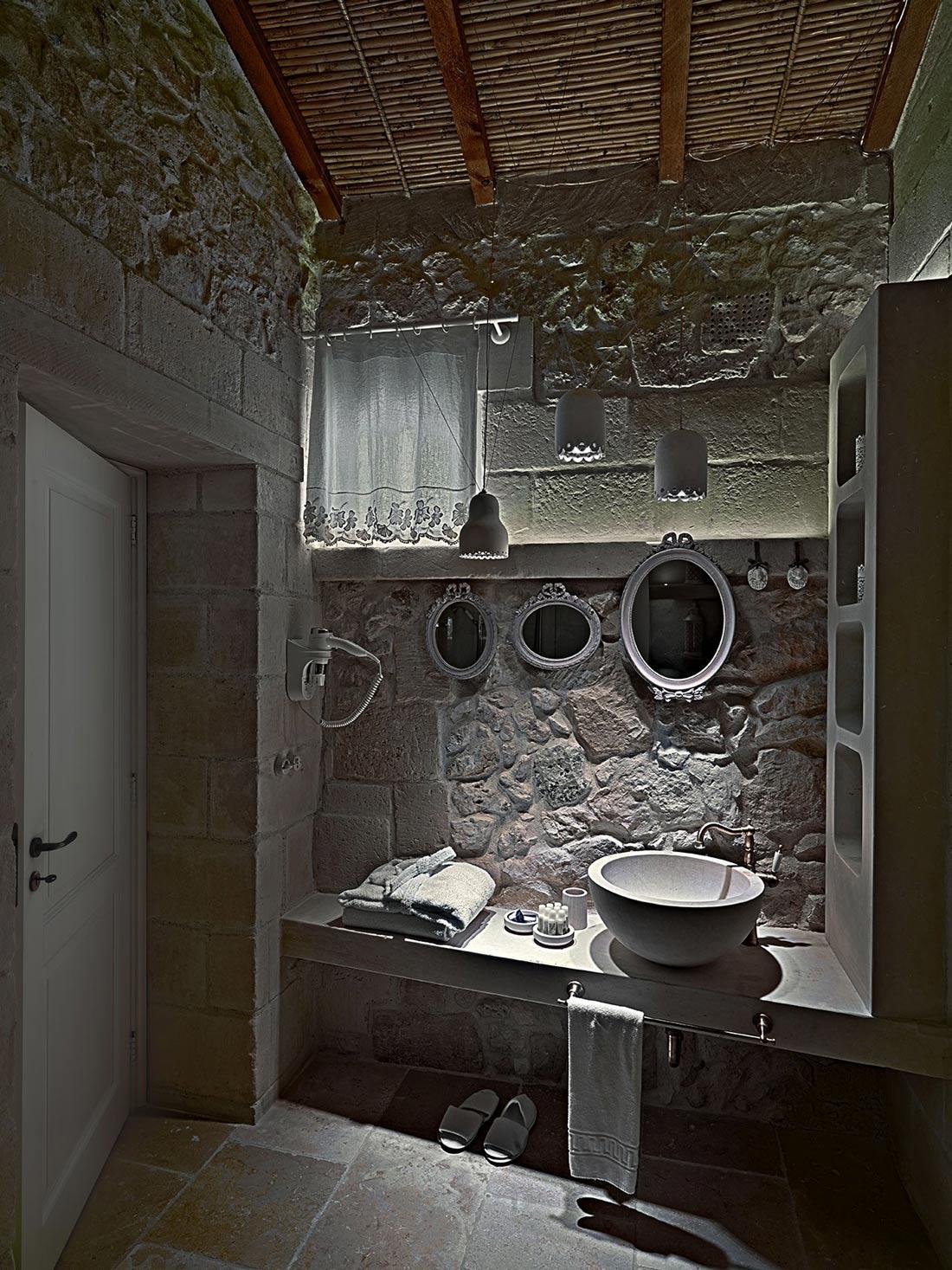 Bathroom Mirrors, Relais Masseria Capasa Hotel in Martano, Italy