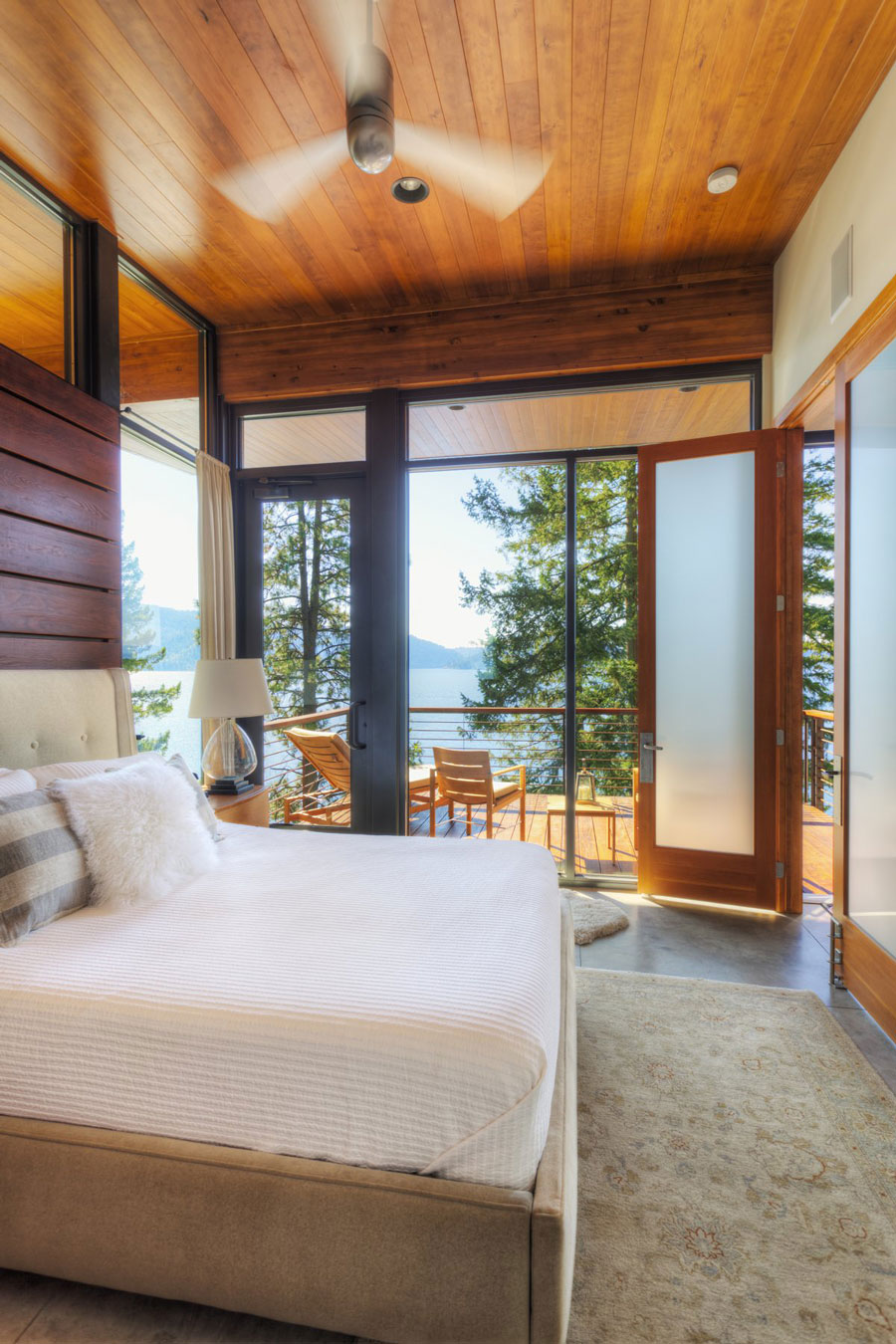 Bedroom, Balcony, Modern Lakefront Cabin in Idaho, USA