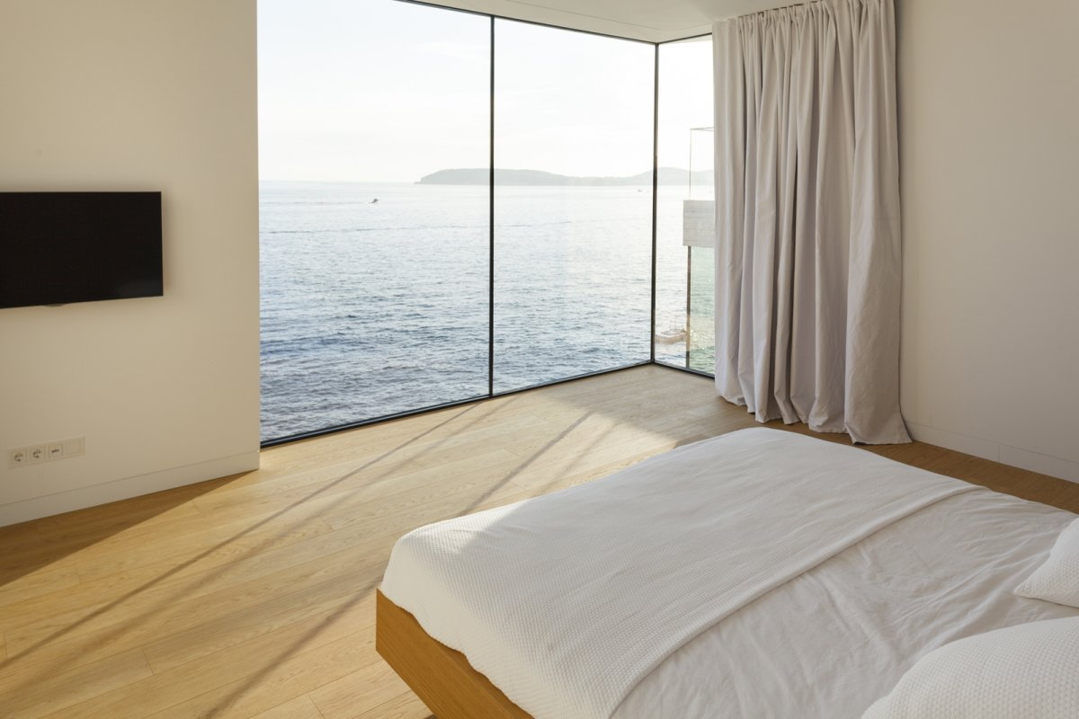 Bedroom, Glass Wall, Sea Views, House in Dubrovnik, Croatia