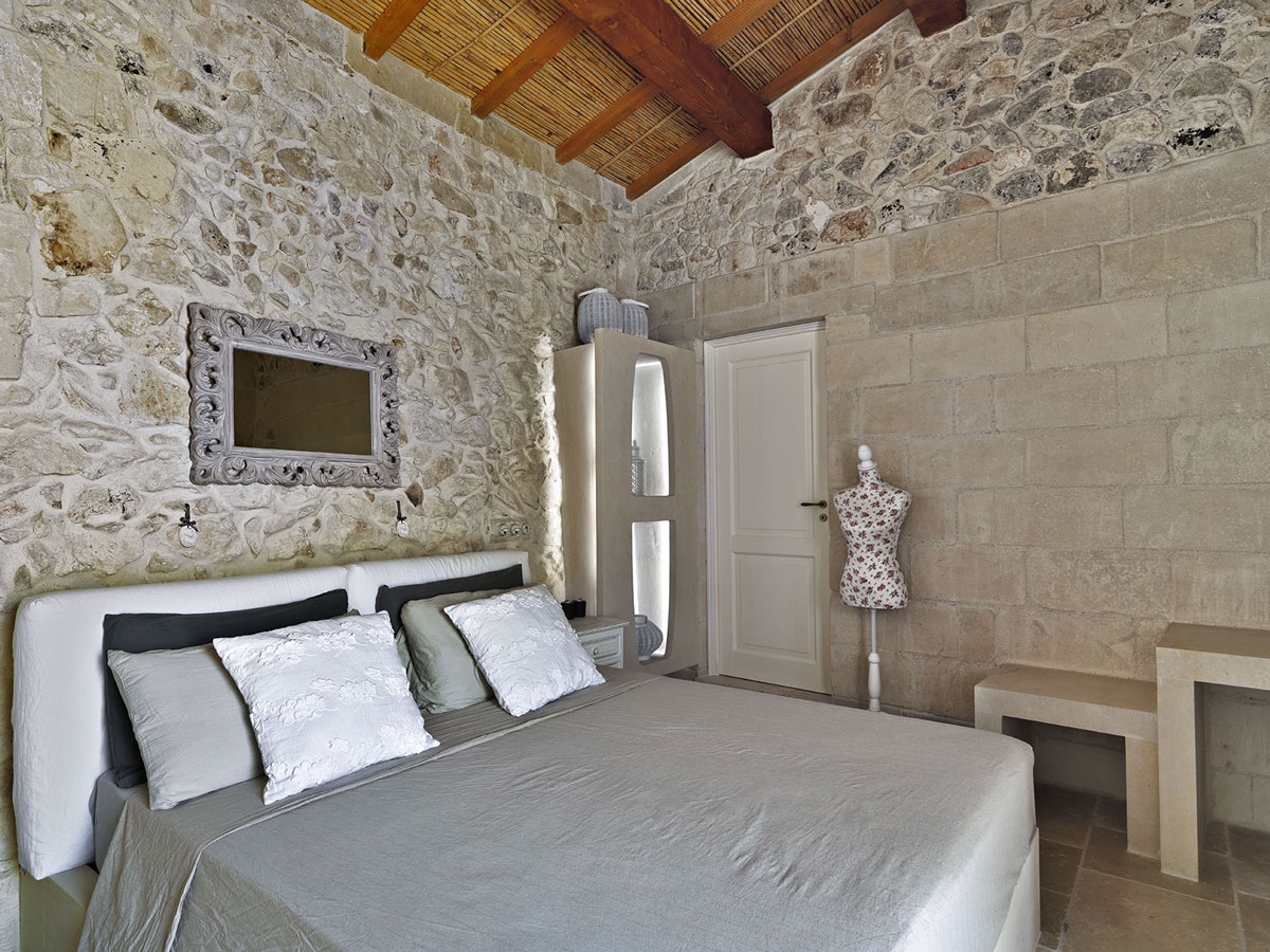 Bedroom, Natural Stone Walls, Relais Masseria Capasa Hotel in Martano, Italy