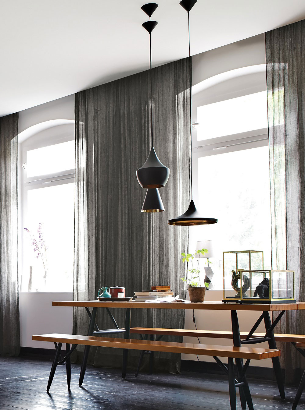 Bench Dining Table, Lighting, Apartment Renovation in Berlin, Germany