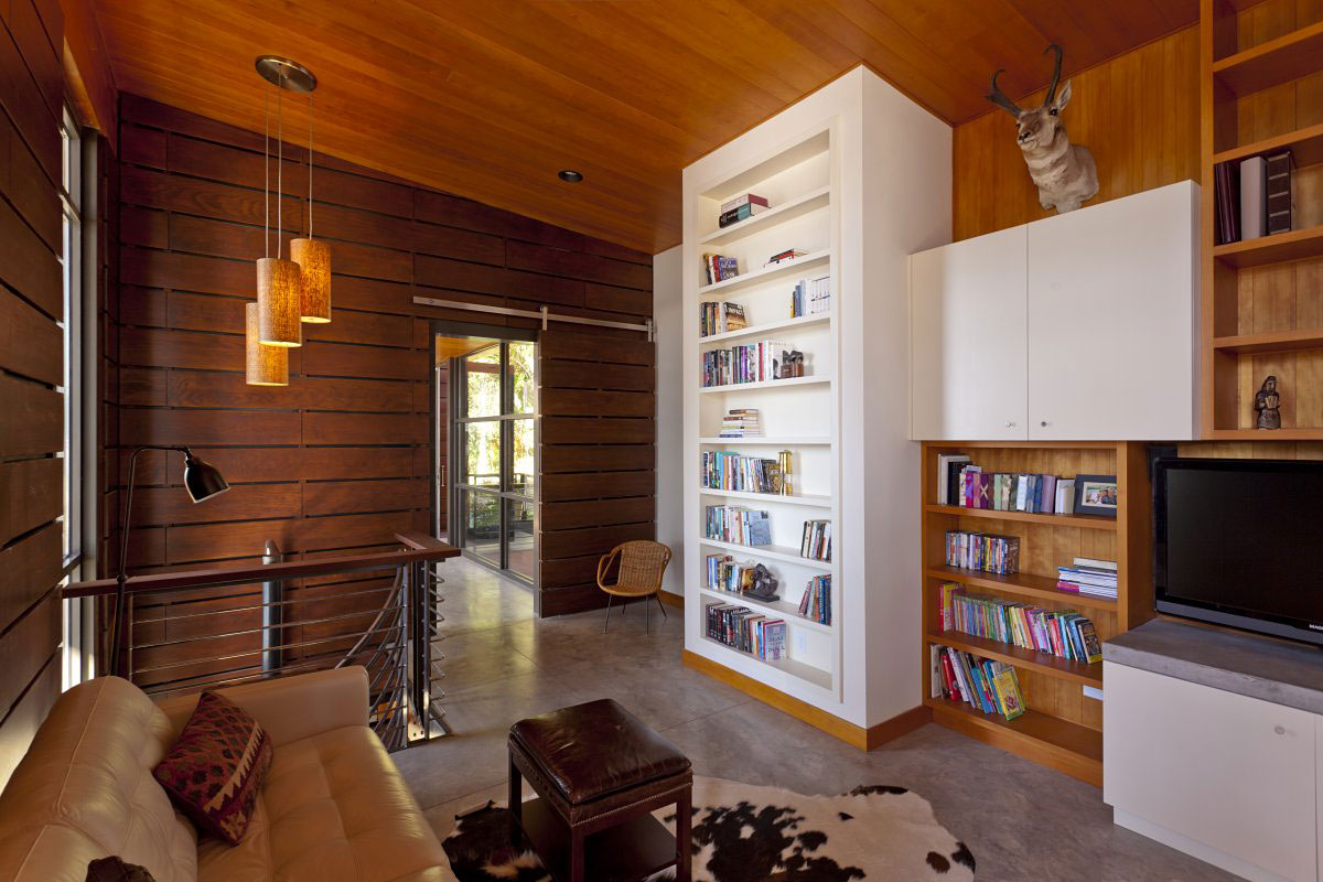 Bookcase, Sofa, Living Space, Lighting, Modern Lakefront Cabin in Idaho, USA