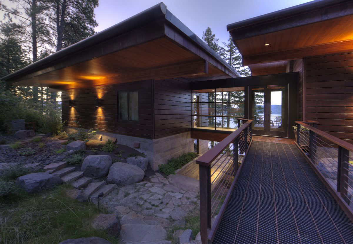 Bridge, Glass Entrance, Modern Lakefront Cabin in Idaho, USA