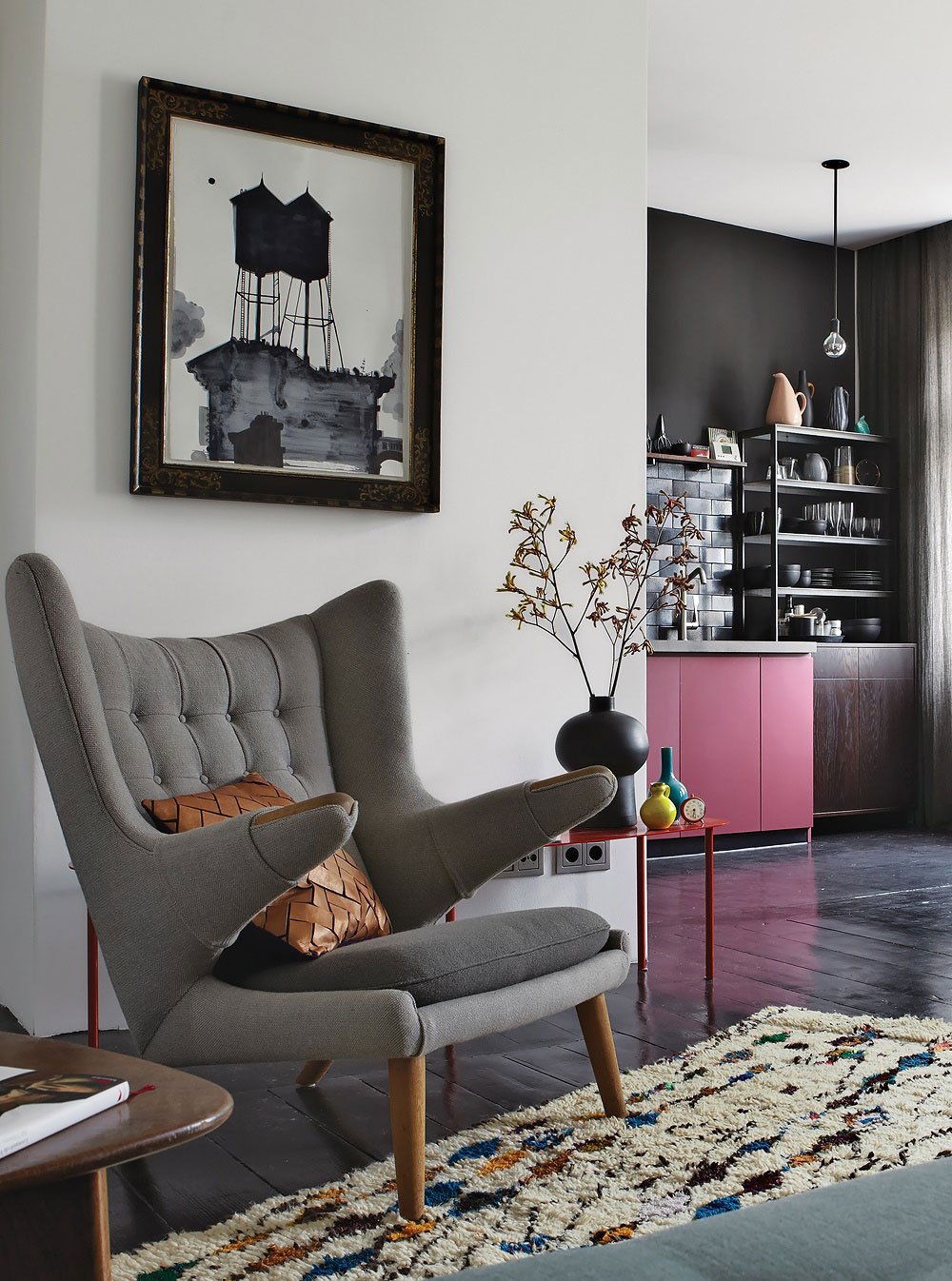 Chair, Rug, Art, Apartment Renovation in Berlin, Germany
