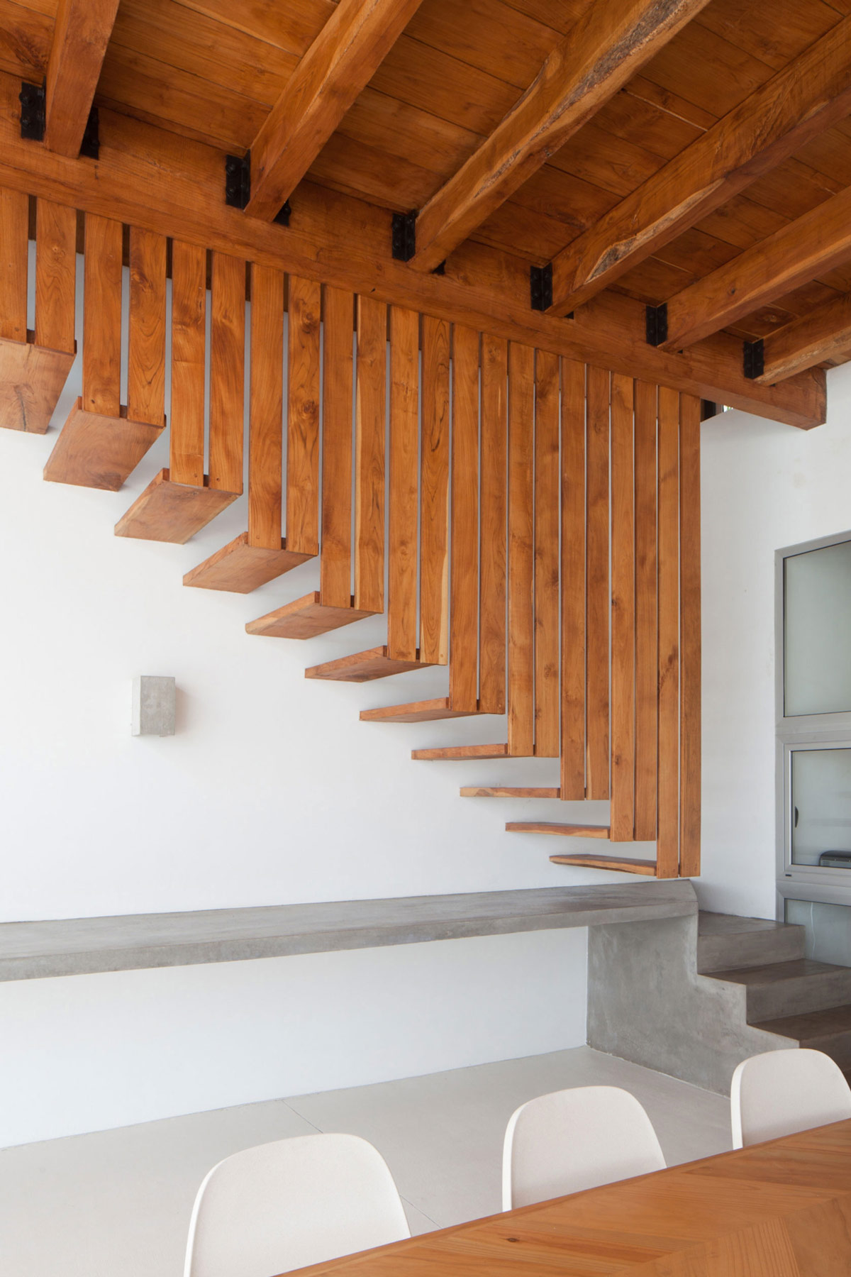 Concrete & Wood Stairs, Beach House in San Salvador, El Salvador