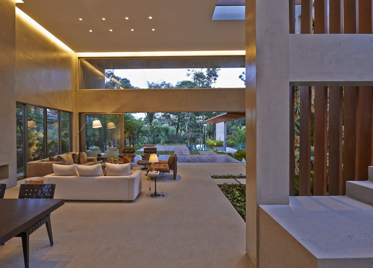 Concrete Living Space, Contemporary Home in Nova Lima, Brazil