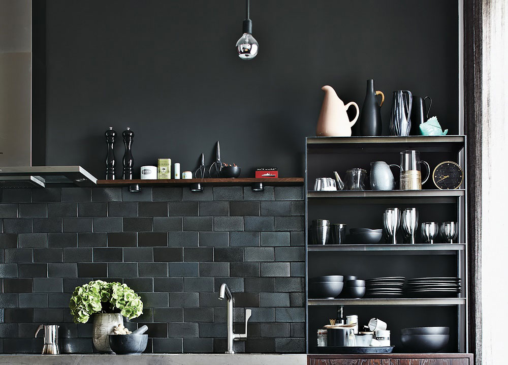 Dark Tiles, Kitchen Shelves, Apartment Renovation in Berlin, Germany