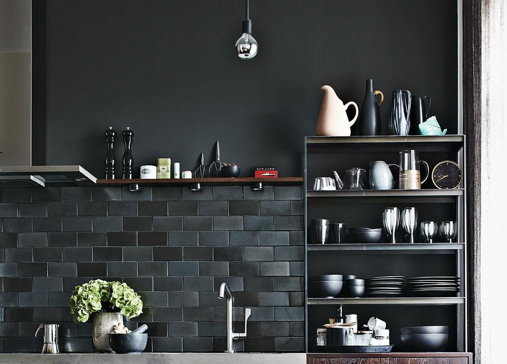 Dark Tiles, Kitchen Shelves, Apartment Renovation in Berlin, Germany