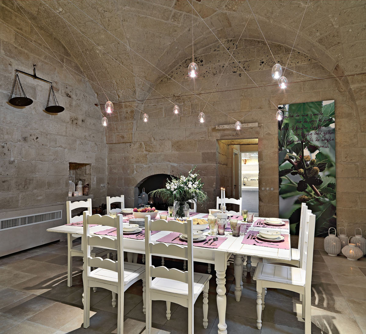 Dining Room, Lighting, Art, Relais Masseria Capasa Hotel in Martano, Italy