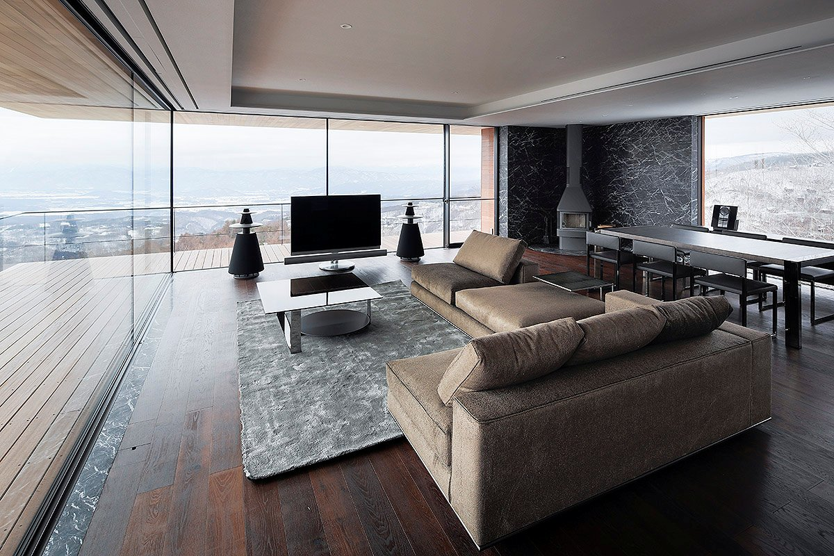 Dining Table, Fireplace, Sofas, Mountain House in Nagano, Japan
