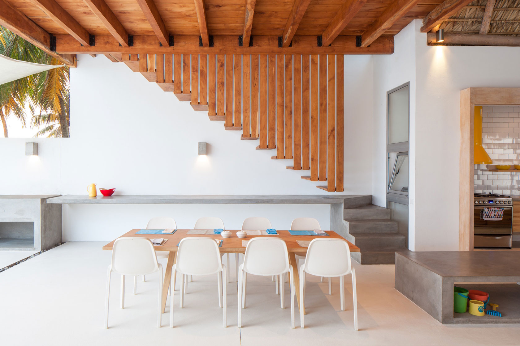 Dining Table, Stairs, Beach House in San Salvador, El Salvador