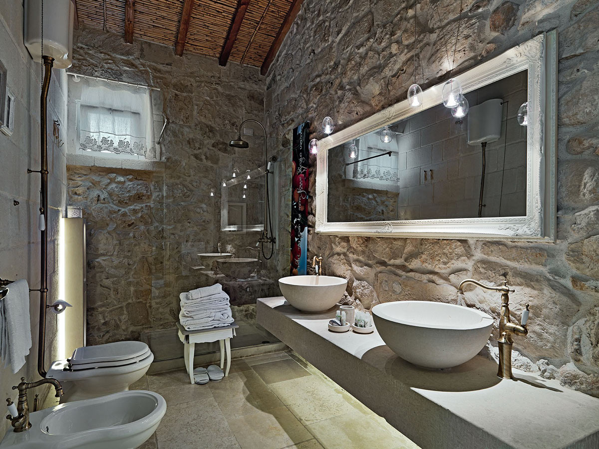 Double Sinks, Large Mirror, Stone Walls, Bathroom, Relais Masseria Capasa Hotel in Martano, Italy