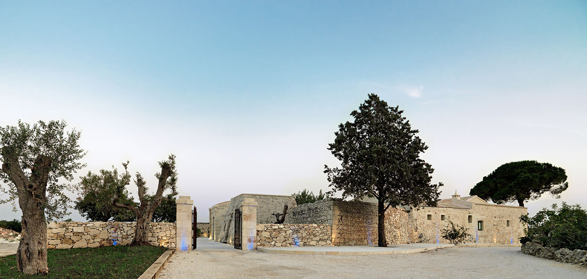 Entrance, Blue Lighting, Relais Masseria Capasa Hotel in Martano, Italy