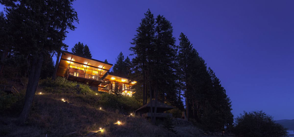 Evening, Lighting, Modern Lakefront Cabin in Idaho, USA