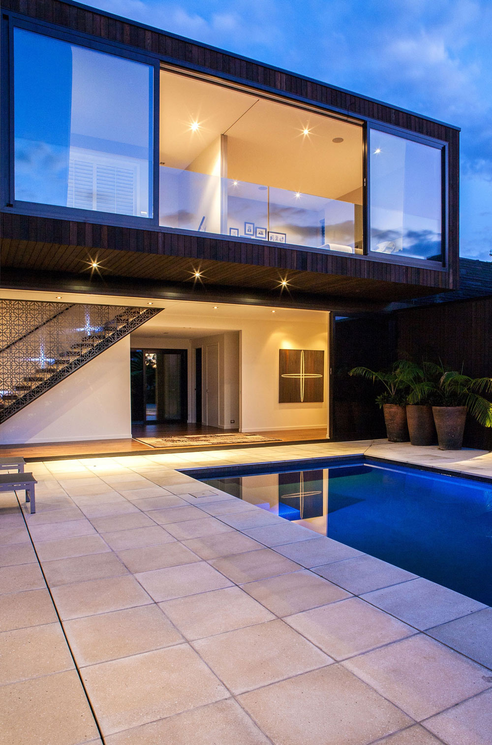 Evening, Lighting, Pool, Terrace, Modern House in Auckland, New Zealand
