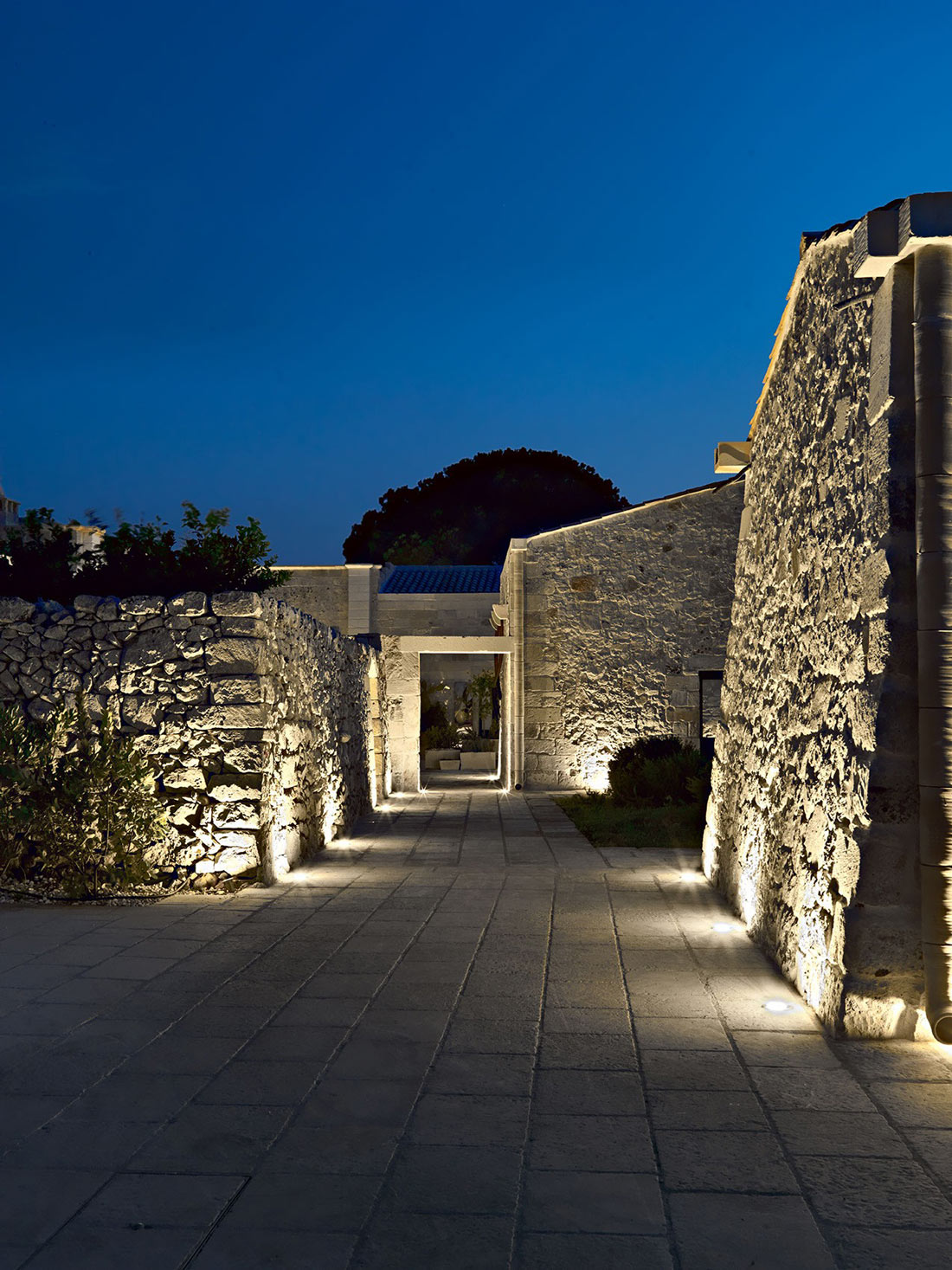 Evening Lighting, Stone Walls, Relais Masseria Capasa Hotel in Martano, Italy